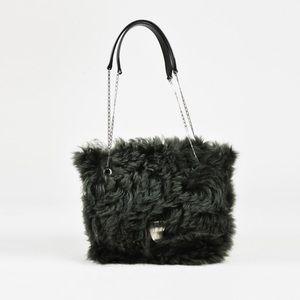 Celine fur shearling chain crossbody purse